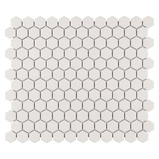 SomerTile 'Manhattan Hex Antique White' 10.25x12-inch Unglazed Porcelain Mosaic Tiles (Pack of 10)