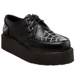 Demonia Unisex 'Creeper-426' Black Spiderweb Platform Oxfords