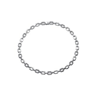 Collette Z Sterling Silver Cubic Zirconia Rectanlgle Link Necklace