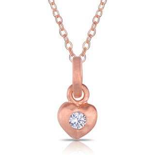 Collette Z Rose Gold over Silver Cubic Zirconia Matte Heart Necklace