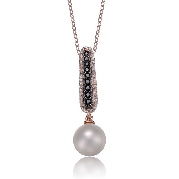 Collette Z Rose and Black Silver FW Pearl and CZ Necklace (10-11 mm)