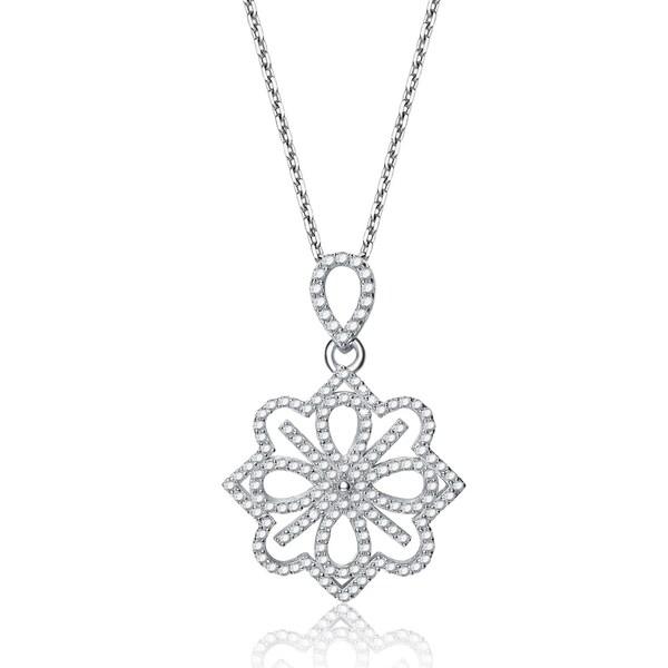 Collette Z Sterling Silver Fancy Flower Necklace