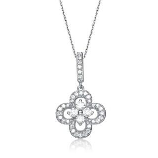 Collette Z Sterling Silver Cubic Zirconia Flower Drop Necklace