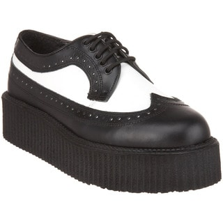 Demonia Unisex 'Creeper-408' Black/ White Wingtip Lace-up Shoes