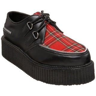 Demonia Unisex 'Creeper-406' Black/ Red Plaid Oxford Shoes
