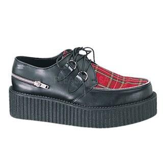 Demonia Unisex 'Creeper-406' Black/ Red Plaid Oxford Shoes