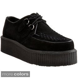 Demonia Unisex 'Creeper-402S' Suede Rockability Oxford Shoes