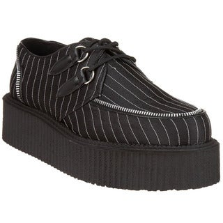 Demonia Unisex 'Creeper-401' Black Pinstripe Lace-up Shoes