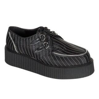 Demonia Unisex 'Creeper-401' Black Pinstripe Lace-up Shoes