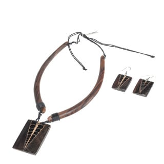 Eco Friendly Wood Scales Rectangle Necklace and Earring Set (India)