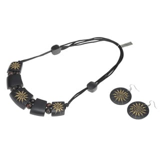 Eco Friendly Wood Spiral Sun Motif Necklace and Earring Set (India)