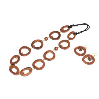 Eco Friendly Wood Hoop Chain Necklace and Earring Set (India)