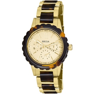 Breda Women's 'Nora' Tortoise Shell/ Goldtone Watch