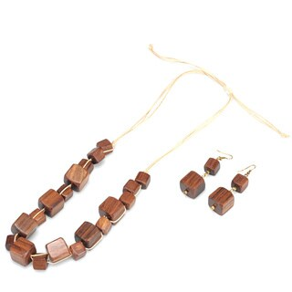 Eco Friendly Wood Cube Necklace and Earring Set (India)