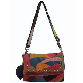 Amerileather Color Patch Leather Shoulder Bag