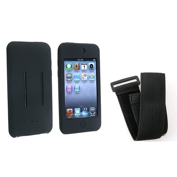INSTEN Black Soft Silicone Skin iPod Case Cover/ Armband for Apple iPod Touch 1/ 2/ 3