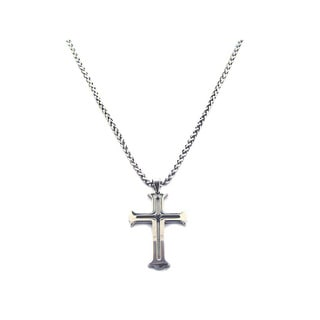 Stainless Steel 1/4ct TDW Black Diamond Archaic Cross Necklace