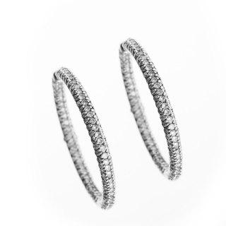 Sonia Bitton 18k White Gold 2.5ct TDW Designer Diamond Hoop Earrings (G-H, SI1-SI2)