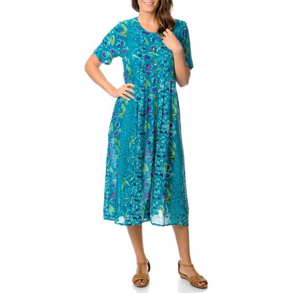 La Cera Women's Teal Border Print Long Pleated Dress