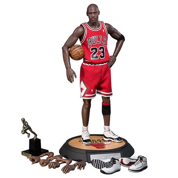 NBA Michael Jordan Away Red Jersey 1/6 Figure with Air Jordan Shoes