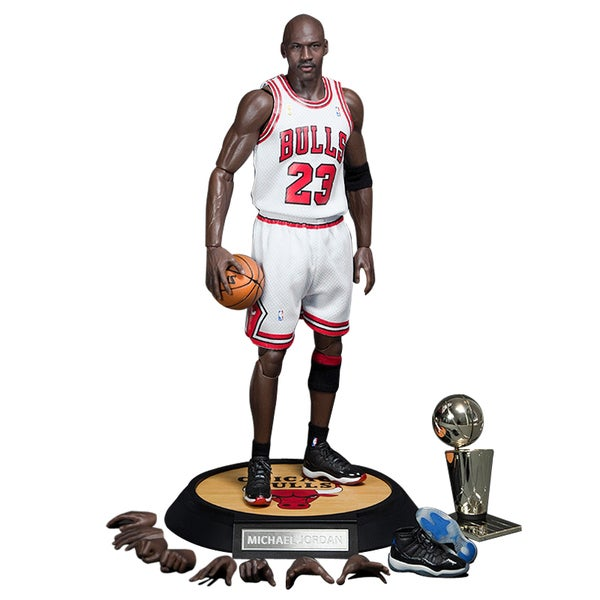 NBA Michael Jordan Home White Jersey 1/6 Figure with Air Jordan Shoes
