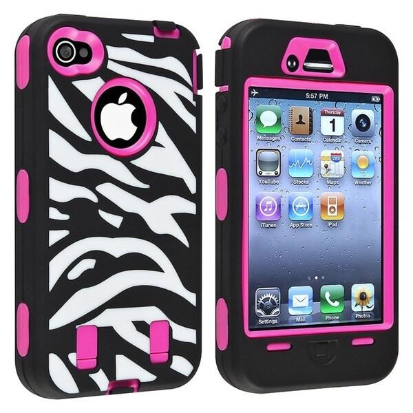 INSTEN Hot Pink Hard Plastic/ Zebra Skin Hybrid Phone Case Cover for Apple iPhone 4/ 4S