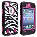 BasAcc Hot Pink Hard/ Zebra Skin Hybrid Case for Apple iPhone 4/ 4S