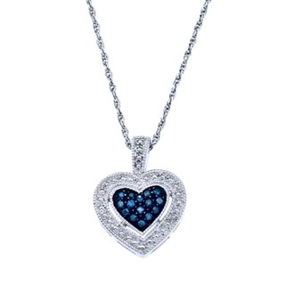 Sterling Silver 1/10ct TDW Blue Diamond Heart Necklace