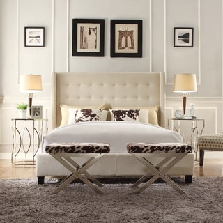 INSPIRE Q Marion Beige Linen Nailhead Wingback Tufted Upholstered Bed