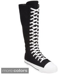 Demonia Men's 'Deviant-301' Black Knee-high Sneaker Boots