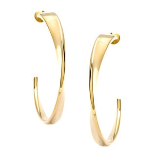 Calvin Klein Gold over Stainless Steel Curl Semi-hoop Earrings
