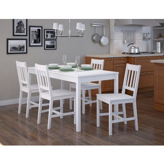 CorLiving Soft White Wash Finish Dining Table (Set of 5)
