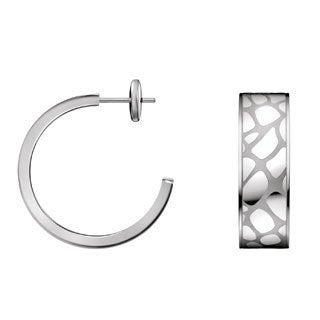 Calvin Klein Stainless Steel Wide Flag Semi-hoop Earrings