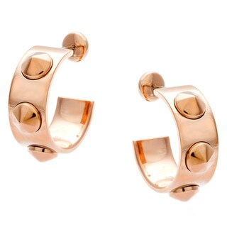 Calvin Klein Rose Gold PVD-coated Steel Studded Hoop Earrings