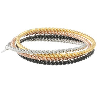 Multi-colored Stainless Steel Connected Twist Bangle Bracelet