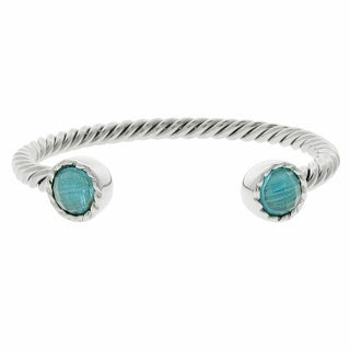 Stainless Steel Blue Glass Finial Twisted Cuff Bracelet