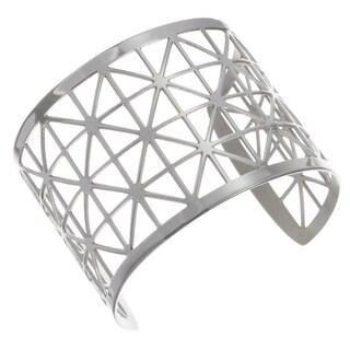 Stainless Steel Geometric Openwork 49-mm Cuff Bracelet