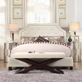 Inspire Q Esmeral Arched Bridge Top King-size Bed in White Linen