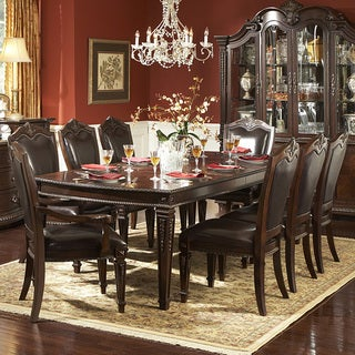 Tusca Traditional Dark Brown Bi-cast Leather 9-piece Extendable Dining Set