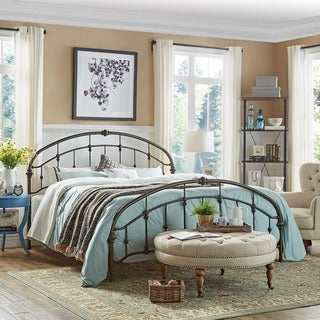 TRIBECCA HOME Lacey Round Curved Double Top Arches Victorian Iron King-sized Metal Bed