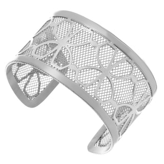Stainless Steel Floral Design 40-mm Cuff Bracelet