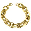 Gold Ion-plated Stainless Steel 13-mm Rolo Chain Bracelet