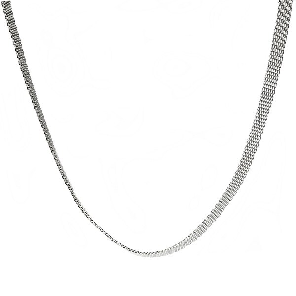 Silver Ion-plated Stainless Steel 5-mm Mesh Chain Necklace