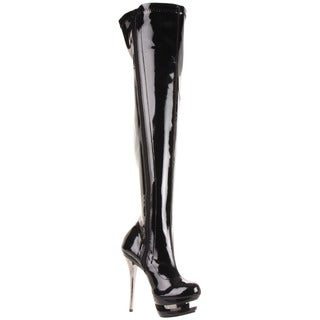 Pleaser 'BLONDIE-3000' Women's Stiletto Heel Dual Platform Thigh-high Boots