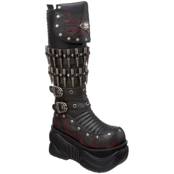 demonia boxer 201 unisex platform knee high cyber boots