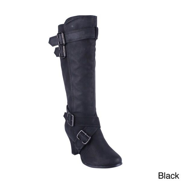 Anna Women's 'NB200-152' Knee-high Chunky Heel Boots