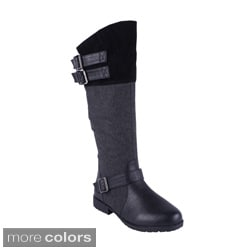 Anna Women's 'NB200-17' Fabric Shaft Knee-high Riding Boots