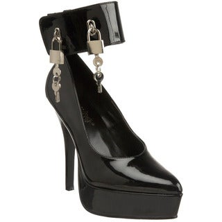 Pleaser Women's 'Indulge-534' Black Patent Ankle Cuff Pumps