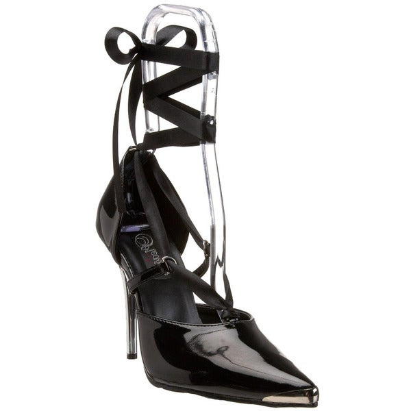 Pleaser Women's 'Heat-06' Black Patent Satin-wrap Pointed Heels