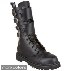 Demonia Women's 'Attack-10' Leather Buckled Shaft Mid-calf Boots